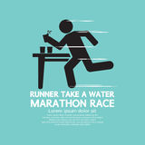 Runner Take a Water In a Marathon Race Symbol Stock Images