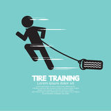 Runner With Tire Training Symbol. Stock Image