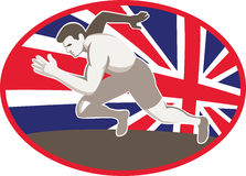 Runner Track and Field Athlete British Flag Royalty Free Stock Image
