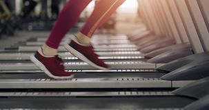 Runner at the Treadmill. Close up frame to the feet of athlete running on a treadmill in the gym stock video
