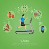 Runner on Treadmill Concept. Fitness, Cardio, Healthy Lifestyle Concept with Runner on Treadmill Icons for Mobile Applications, Web Site, Advertising Royalty Free Stock Photos