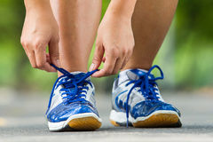 Runner trying running shoes getting ready for jogging Stock Photo