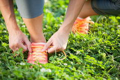 Runner trying running shoes getting ready for jogging Royalty Free Stock Photo
