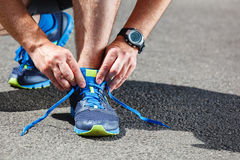 Runner trying running shoes getting Stock Photo