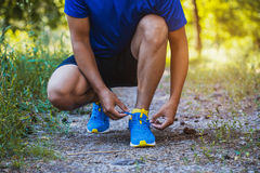 Runner tying shoelaces on sneakers. Morning jogging in the forest Stock Image