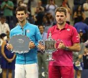 Runner-up Novak Djokovic of Serbia L and US Open 2016 champion Stanislas Wawrinka of Switzerland during trophy presentation Royalty Free Stock Photography