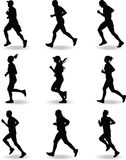 Runner vector. Man and women runner silhouette vector stock illustration