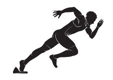 Runner. Vector silhouette isolated on white stock illustration