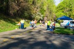 Runner and Volunteers at the 2021 Blue Ridge Marathon