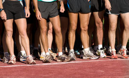 Runner waiting to run on the line. Group runner waiting to run on the line at footrace marathon Stock Photography