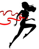 Runner winner, female. Vector silhouette of woman champion, concept of success and leadership Stock Image