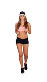 Runner woman with cup Royalty Free Stock Photography