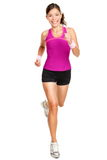 Runner woman isolated. Running fit fitness sport model jogging smiling happy isolated on white background. Beautiful mixed race Chinese Asian / white Caucasian