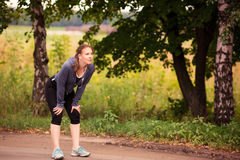 Runner woman jogging in nature outdoor Stock Images