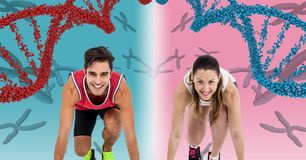 Runner woman and runner man with dna chains, pink and blue background Royalty Free Stock Photo