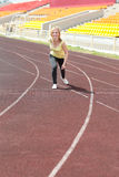 Runner - woman running outdoors training Stock Photo