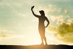 Runner woman take a selfie Royalty Free Stock Images