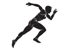 Runner-woman. Vector silhouette isolated on white vector illustration