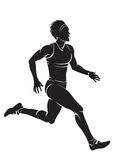 Runner-woman. Vector silhouette isolated on white royalty free illustration