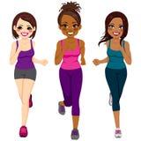 Runner Women Different Ethnicity. Beautiful diverse young runner women of different ethnicity vector illustration