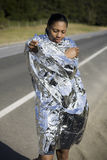 Runner Wrapped in Space Blanket Stock Image