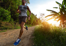 Runner. Young man running on a rural road during sunset Royalty Free Stock Image