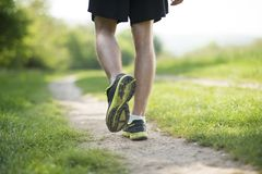 Runner. Young man is running in sunny nature Stock Images