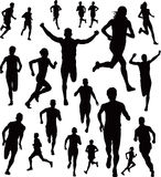 Runners. A collection of runners. Silhouettes of people running male and female Royalty Free Stock Images