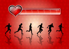 Runners. Black silhouettes of runners on the red background Stock Photography