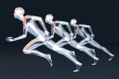 Runners. Three competing runners. 3D rendered Illustration Stock Image