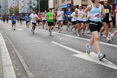 Runners in 32nd Warsaw Marathon Stock Photos