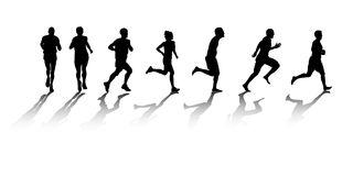 Runners. A group of silhouetted runners Stock Image