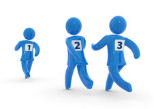 Runners. Three running figures with numbers on back. Concept of competition Stock Photography