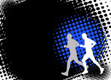 Runners on the abstract background Stock Photography