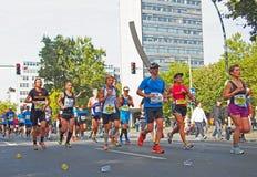 Runners at Berlin Marathon 2014 at the Urania Stock Photo