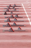 Runners Blocks. A runners sprinters blocks on the race track Stock Image