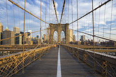 Runners on Brooklyn Bridge Stock Photo