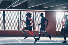Runners captured in motion royalty free stock images