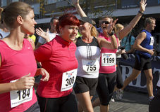 Runners celebrate the 6th Drechtstedenloop Stock Photos