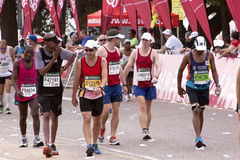 Runners Chatting and Joking During Comrades Marathon Royalty Free Stock Images