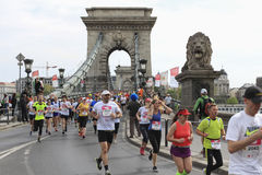 Runners in Chine Bridhe in Budapest, Hungary, Marathon 17 April 2016 Royalty Free Stock Images