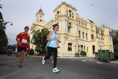 Runners of the city of Malaga urban race 2007. Runners during the XXIX urban race at the city of Malaga, Spain, October 14th 2007 Royalty Free Stock Image
