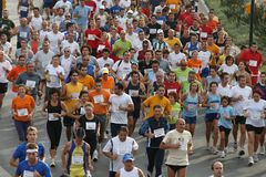 Runners of the city of Malaga urban race 2007. Runners during the XXIX urban race at the city of Malaga, Spain, October 14th 2007 Stock Photo