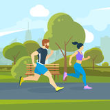Runners in the city park. Urban lifestyle vector illustration Royalty Free Stock Images
