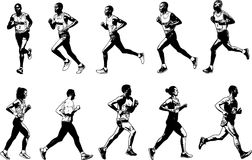 Runners collection, sketch illustration Stock Photo