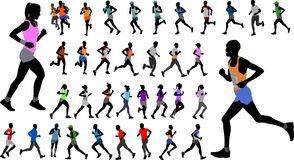 Runners in color sportswear silhouettes collection Stock Images