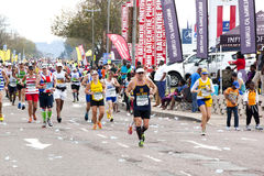 Runners Competing in the 2014 Comrades Marathon Road Race Royalty Free Stock Photos