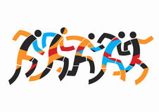 Runners competition. Colorful stylized illustration of race runners. Vector available Stock Images