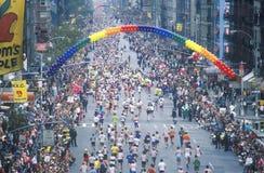 Runners crossing 1st Avenue/ 59th Street bridge Stock Photos