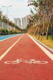Runners and cyclists tracks Stock Photo